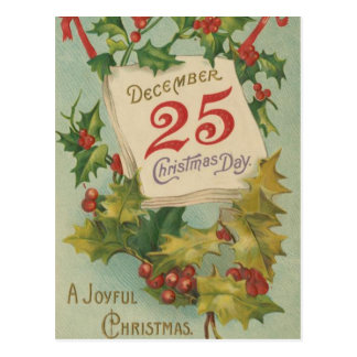 December 25th Christmas Day Postcard