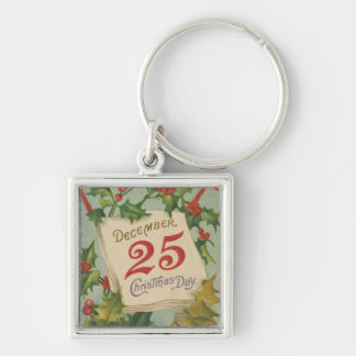 December 25th Christmas Day Silver-Colored Square Keychain