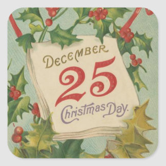 December 25th Christmas Day Square Sticker