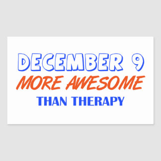 december 9 design rectangular sticker