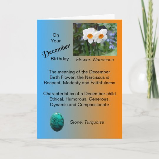 December Birthday Card Narcissus And Turquoise Zazzle
