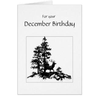 December Birthday Forest Stag Deer Nature Scene Card
