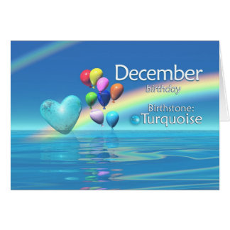 December Birthday Turquoise Heart Greeting Card
