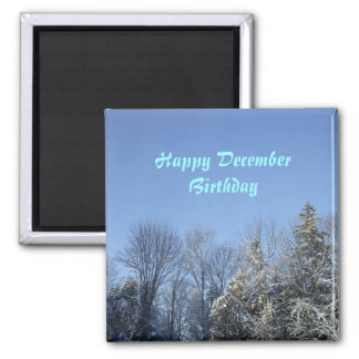 December Birthday-winter sky and trees 2 Inch Square Magnet