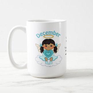 December Birthstone Angel Black Coffee Mug
