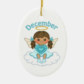 December Birthstone Angel Brunette Ceramic Ornament