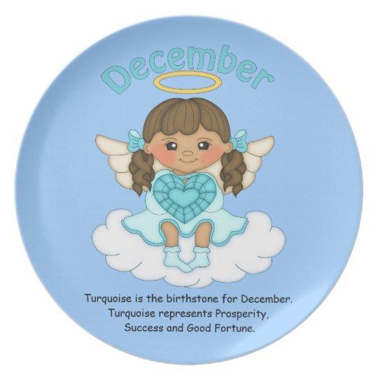 December Birthstone Angel Brunette Melamine Plate
