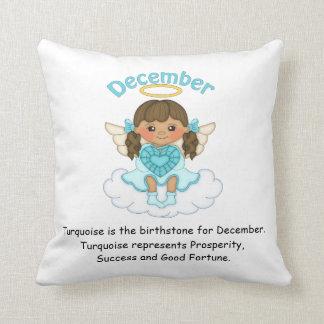 December Birthstone Angel Brunette Pillow