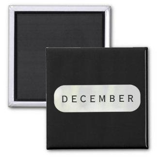 December Black Square Magnet by Janz