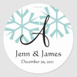 December Blue Snowflakes Monogram A Seal Round Stickers