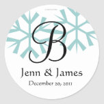 December Blue Snowflakes Monogram B Seal Stickers