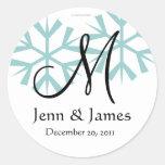 December Blue Snowflakes Monogram M Seal Stickers