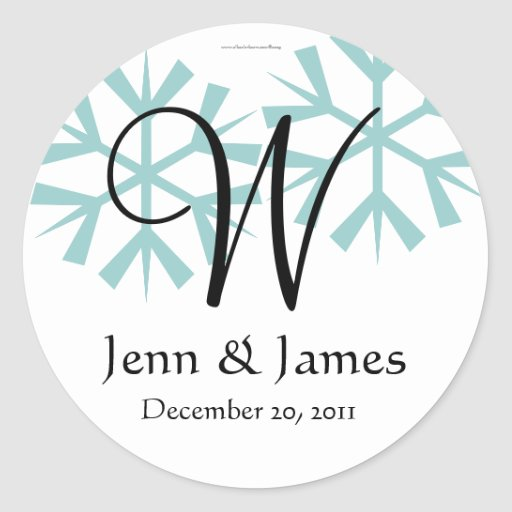 December Blue Snowflakes Monogram W Seal Stickers