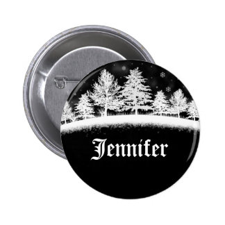 December Company Party Name Tags Black Pinback Button