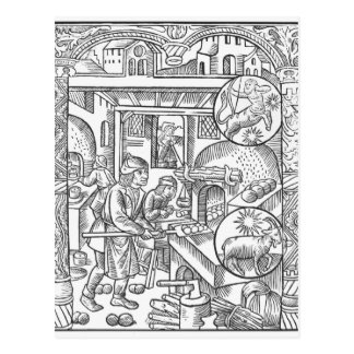 December, from the 'Almanach des Bergers', 1491 Postcard