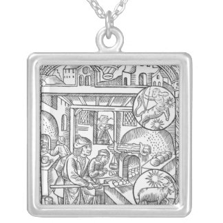 December, from the 'Almanach des Bergers', 1491 Silver Plated Necklace
