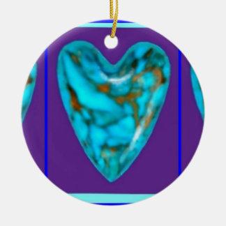 December Gem turquoise Heart by SHARLES Ceramic Ornament