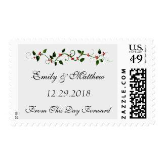 December Holiday Wedding Holly Berry Medium Postage