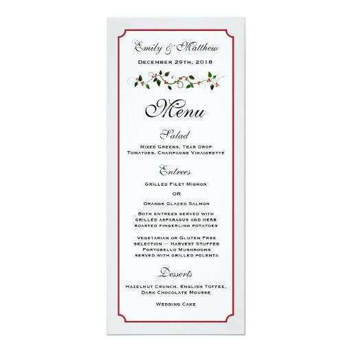 December Holiday Wedding Reception Menu Card