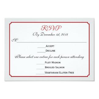 December Holiday Wedding RSVP Response with Menu 3.5x5 Paper Invitation Card