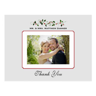 December Holiday Wedding Thank You Photo Postcard