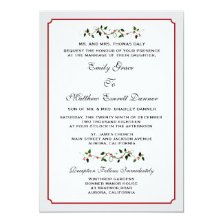 December Holiday Wedding Traditional or Formal 5x7 Paper Invitation Card