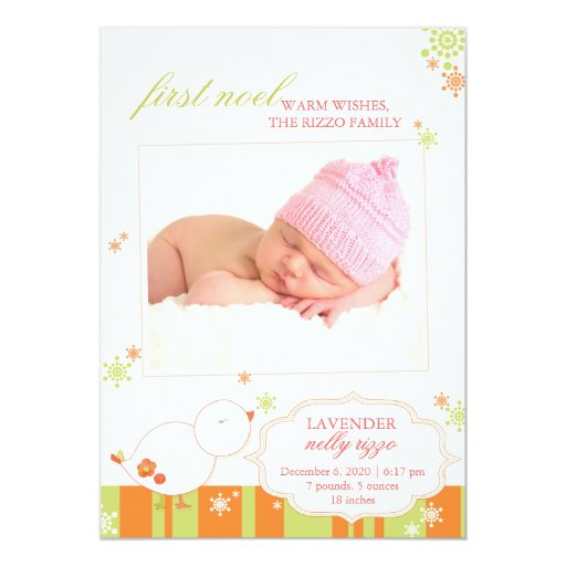 December New Baby Girl Photo Birth Announcements