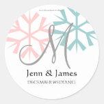 December Pink Blue Snowflake Monogram M Seal Classic Round Sticker