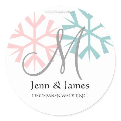 December Pink Blue Snowflake Monogram M Seal Sticker