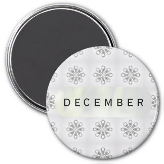 December Snowflakes Large Round Magnet by Janz