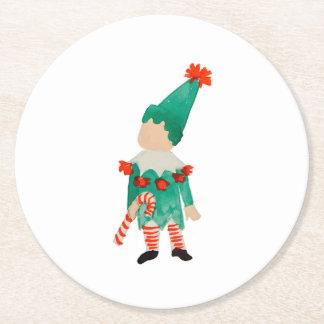 December Toddler Child Christmas Elf Round Paper Coaster