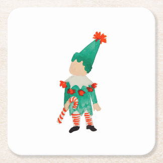 December Toddler Child Christmas Holiday Elf Square Paper Coaster
