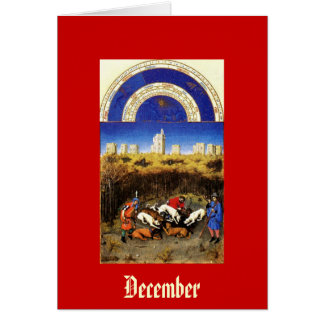 December - Tres Riches Heures du Duc de Berry Stationery Note Card