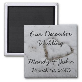 December Wedding 2 Inch Square Magnet