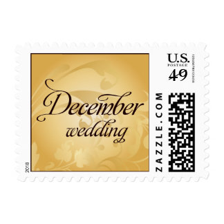 December wedding Gold Flourish Postage