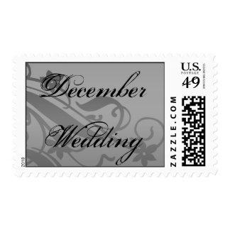 December Wedding In Gray Wedding Postage Stamp