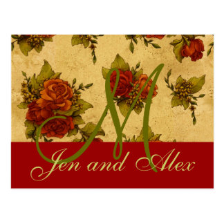 December Wedding Rose Monogram Names Invitation Postcard