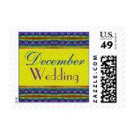 December Wedding yellow blue Postage