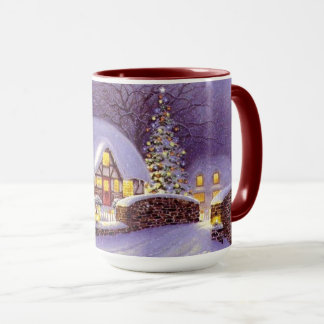 December Winter Snow Scene Happy Holidays Mug