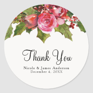 December Winter Wedding Holly Berry Floral Holiday Classic Round Sticker