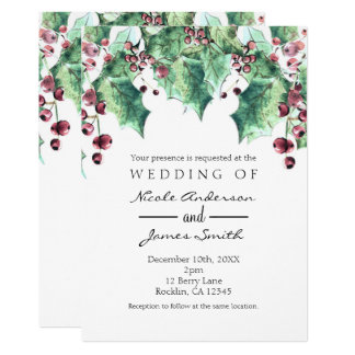 December Winter Wedding Holly Berry Holiday Card