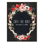 December Winter Wedding Holly Berry Save the Date Postcard