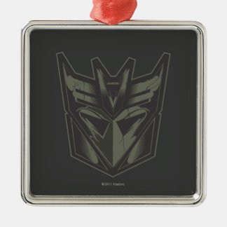 Decepticon agrietó símbolo adorno cuadrado plateado