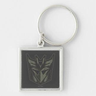 Decepticon agrietó símbolo llavero cuadrado plateado