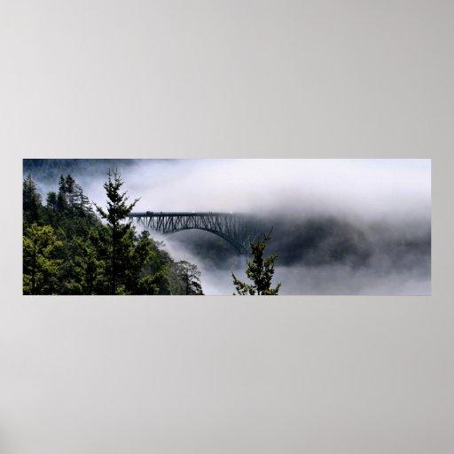 Deception Pass Bridge in Fog Posters