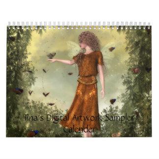 Dechado de las ilustraciones de Digitaces de Tina Calendario