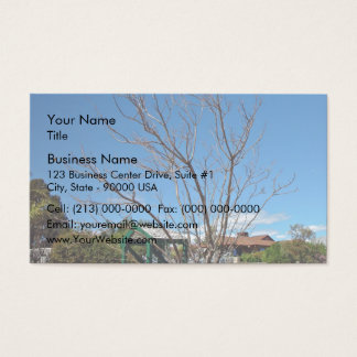 Deciduous tree with single leaf business card