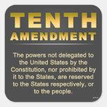Décima enmienda pegatinas cuadradases personalizadas