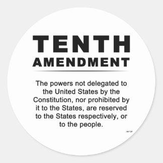 Décima enmienda pegatina redonda