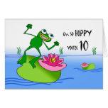 Décimo 10mo cumpleaños de lúpulo, rana divertida e tarjeta de felicitación